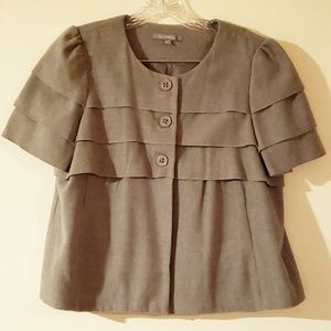 NY Collection Gray Pleaded Buttoned Coat-Size M
